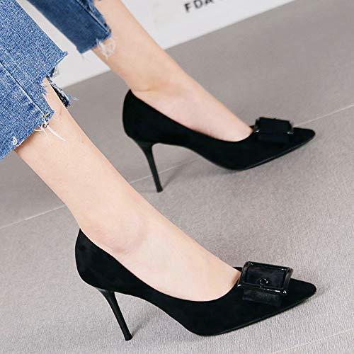 HRCxue Pumps Mode quadratische Schnalle Spitze Stiletto High Heel Frauen Retro Bohne Sand rot Wildleder einzelne Schuhe