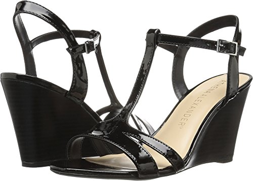 Athena Alexander Women's Andres Wedge Sandal, Black Patent, 8 M US (Athena Alexander Leather Sandals)