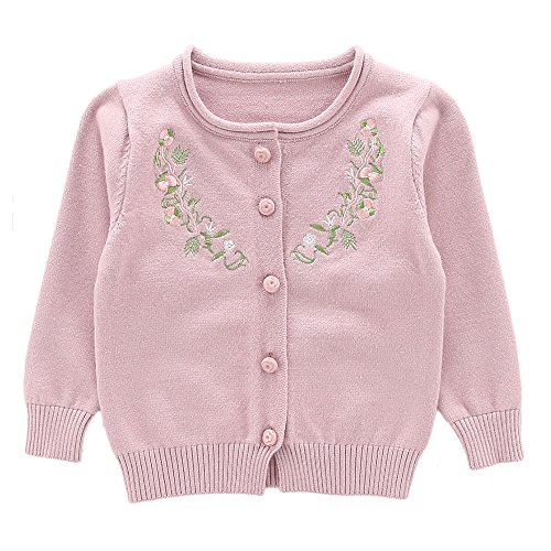 Moonnut Little Girls' Cute Rabbit Knit Cardigan Sweater (Baby/Toddler) (5T, Embroidered - - Embroidered Sweater Cardigan