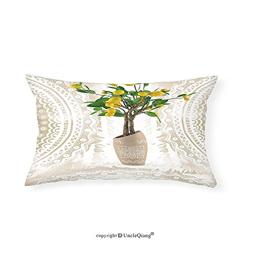 VROSELV Custom pillowcasesFloral Lemon Tree Traditional Tiles Paisley Vintage Style Floral Flowerpot Ceramic Vase Pattern Theme Home Decor Satin Fabric Beige Yellow - New Selena Gomez Style
