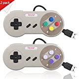 Denmer Super NES Super Nintendo Controller Retro USB Super Classic Controller for PC / Mac (Multicolored Keys) (Pack of 2)