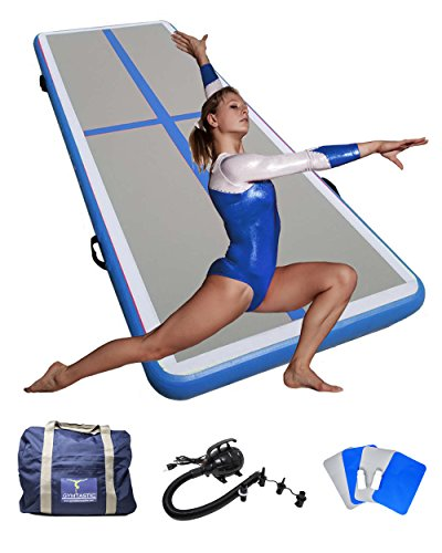 Professional Inflatable Practice Mat Tumbling Air Track for Gymnasts, Free Runners (Parkour), Stunt Artists, Cheerleaders, and Martial Artists for easy Home Use or Gym Use (Blue) - Air Track
