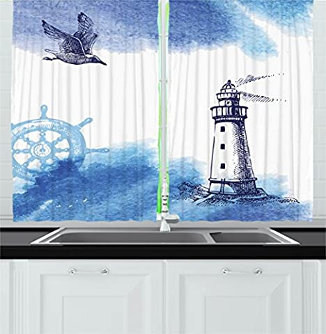 Farm House Decor Kitchen Curtains by Ambesonne, Nostalgic Watercolors with Gull Ancient Anchor Lighthouse Nautical Theme , Window Drapes 2 Panels Set for Kitchen Cafe, 55 W X 39 L Inches, Blue White