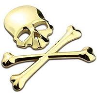 Allowevt 3D cromo hueso cráneo emblema de metal