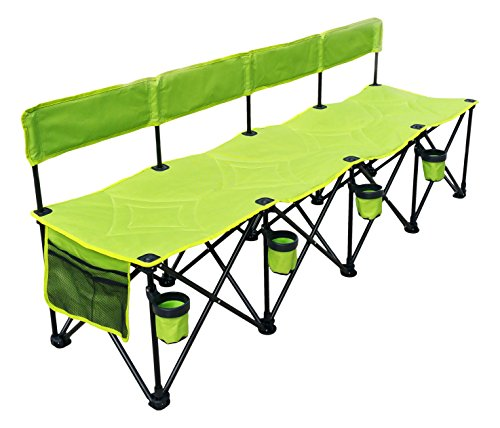 (GoTEAM! Pro 4 Seat Portable Folding Team Bench - Green)