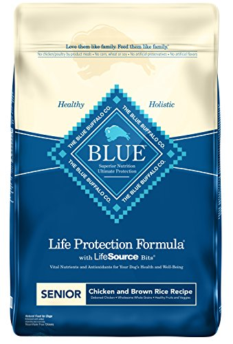Grain Buffalo Formula - Blue Buffalo Life Protection Formula Senior Dog Food – Natural Dry Dog Food for Senior Dogs – Chicken and Brown Rice – 30 lb. Bag