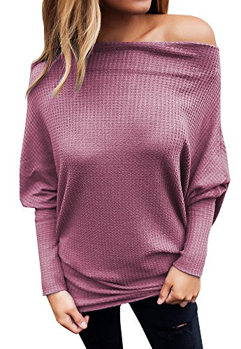 Umeko Womens Shirts Oversized Off The Shoulder Tops Knit Long Sleeve Tunic Top (Off Shoulder Dolman Top)