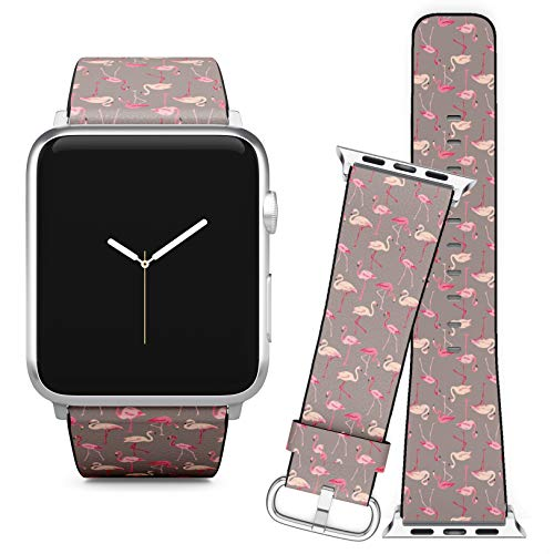 Watch Flamingo Bird - Compatible with Apple Watch (38/40 mm) // Leather Replacement Bracelet Strap Wristband + Adapters // Flamingo Bird Retro