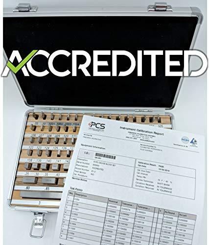 Gage Block Set 81pc Grade 2 with ISO 17025 Accredited Calibration Durable Aluminium ()