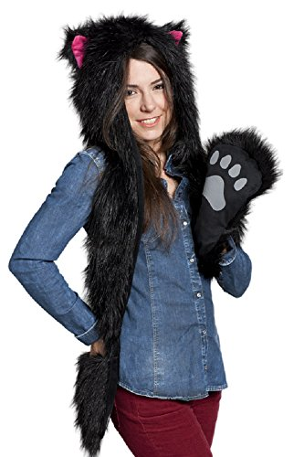 Kitty Soft Paws Costume (FUR ANIMAL HATS HOODS CAT KITTY PINK WITH MITTENS UNISEX GLOVES SCARF WITH PAWS)