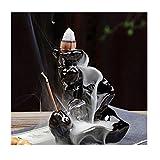 Lilith li Ceramic Glaze Incense Smoke Cone Burner Backflow Censer Tower Holder Porcelain Decoration Charcoal Ash Catcher Tray Bowl for Yoga Bedroom (LLGS)