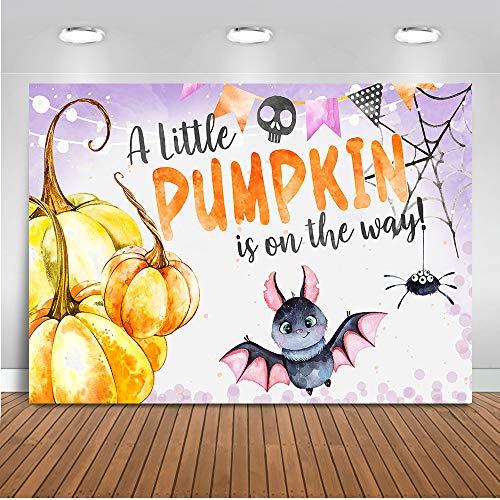 Mocsicka Halloween Baby Shower Backdrop Pumpkin Bat Baby Shower Photography Background 7x5ft Vinyl Fall Pumpkin Baby Shower Banner