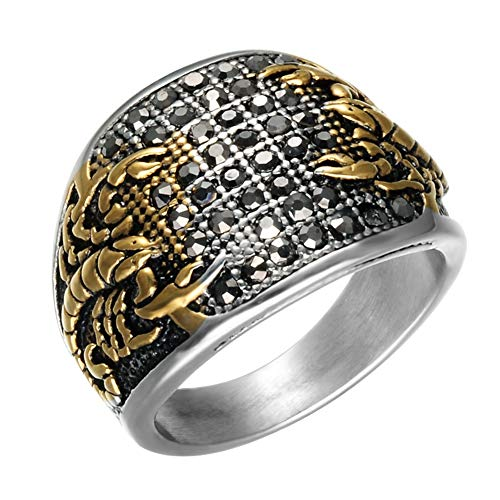 (SAINTHERO Men's Stainless Steel Black Diamond Gothic Biker Scorpion Gold Silver Rings Hip Hop Style)