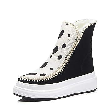 YAN Botas de Nieve para Mujer Invierno Zapatos cómodos de algodón Calzado con Botines Calzado Plataforma