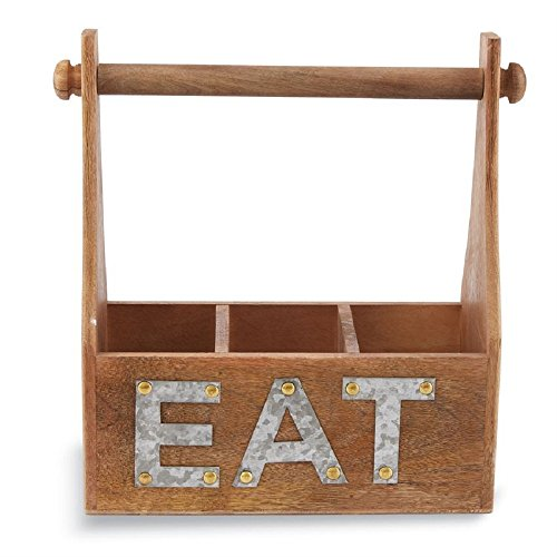 Mud Pie Eat Towel and Utensil Wooden Caddy Set of 2