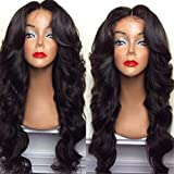 BlueSpace Wigs 28'' Women Girls Long Curly Hair Heat Resistant Fiber With Free Wig Cap Halloween Cosplay Costume Party Anime Wigs, Black