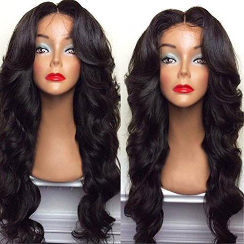 BlueSpace Wigs 28'' Women Girls Long Curly Hair Heat Resistant Fiber With Free Wig Cap Halloween Cosplay Costume Party Anime Wigs, Black by BlueSpace (Image #1)