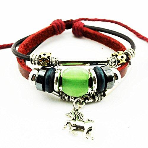 Real Spark Unisex Red Leather Beads Horse Pendant Green Gemstone Metal Tube Wrap Bracelet - Horsebit Buckle Belt