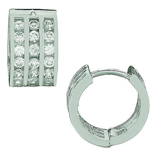 Ritastephens Sterling Silver Channel Set Cubic Zirconia Three Row Huggy Huggie Earrings 6.5x12mm ()