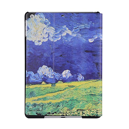 inShang 9.7 inch iPad (2017) Fundas soporte y carcasa para Apple 9.7 inch iPad (2017) , smart cover PU Funda ,art style Blue sky and white clouds