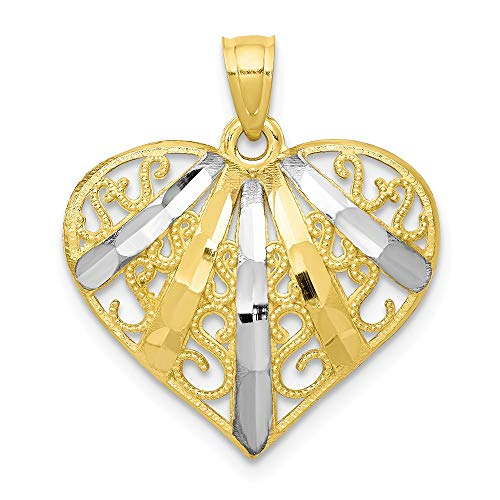 (10K Yellow Gold & Rhodium Diamond-Cut Filigree Heart Pendant)