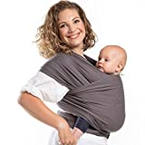 Boba Baby Wrap Carrier, Dark Grey Organic - The Original Child and Newborn Sling, Perfect for Infants and Babies Up to 35 lbs (0-36 months)