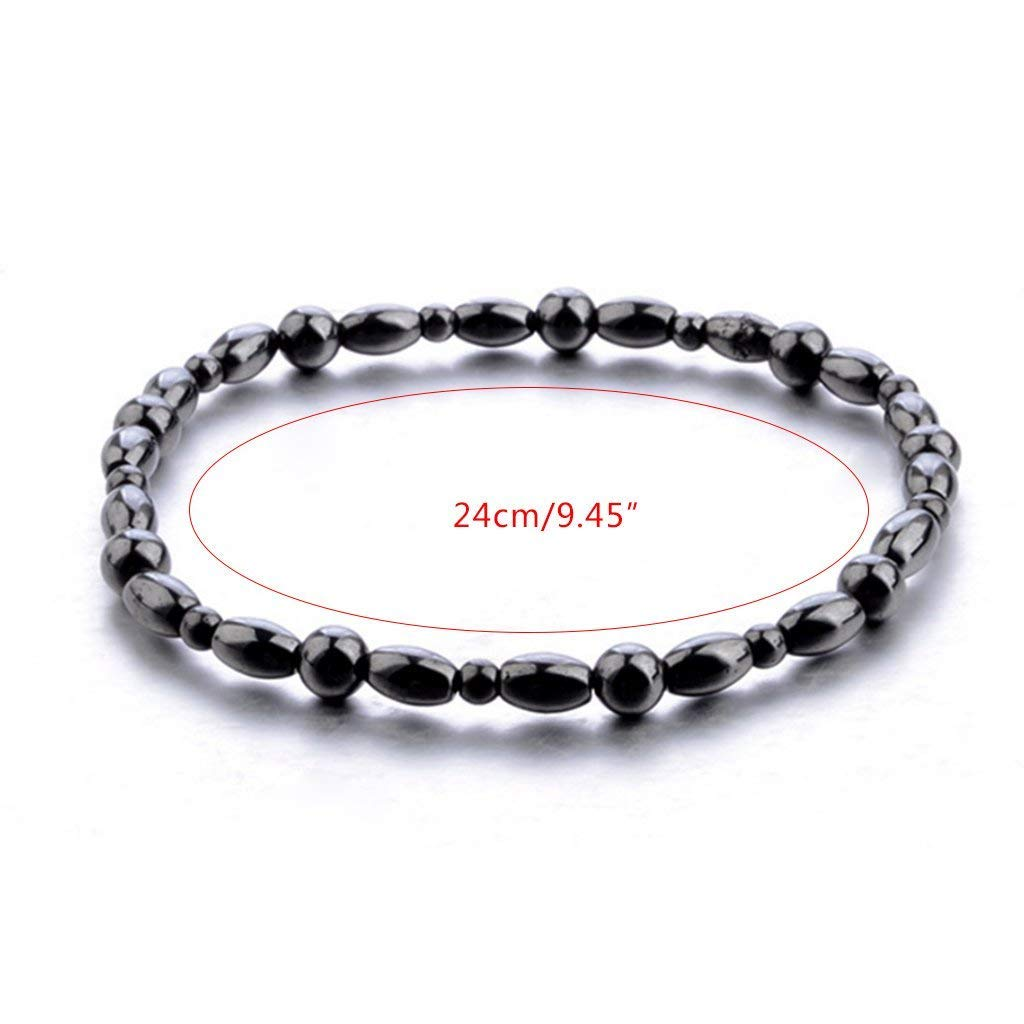 Women Men Magnetic Anklet Hematite Stone Ankle Bracelet, Health Care Black Therapy Jewelry (1PC) by Lottoy (Image #2)