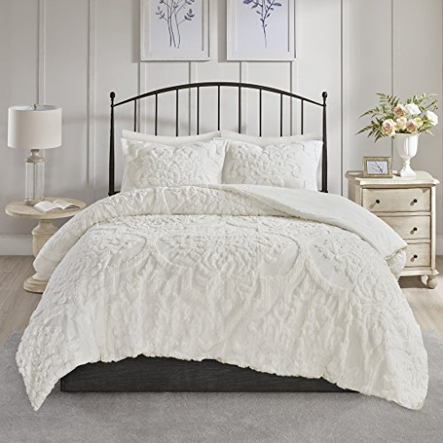 Madison Park Viola Comforter Reversible Cotton Chenille Damask Flower Floral Botanical Tufted Fringe Soft Overfilled Down Alternative Hypoallergenic All Season Bedding-Set, Full/Queen, White