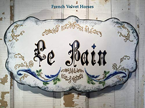 MarthaFox Le Bain La Bain French Bath Bathroom Wood Sign Powder Room Sign FrenchVelvetHorses frenchstyle Antique Inspired Handpainted Sign Cottage (Antique Powder Room Sign)