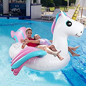 Fixget Inflatable Pool Floats, Newest Unicorn Giant Pool Float Toys with Valves, Large Rideable Summer Beach Swimming Pool Rafts for Kids and Adults
