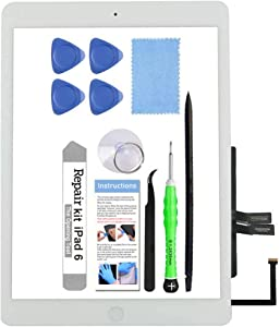 for iPad 6 (6th Gen 2018) A1893 A1954 Screen Replacement Glass Touch Digitizer Repair Kit with Home Button & Tools - Only for iPad 6 6th Generation (White)