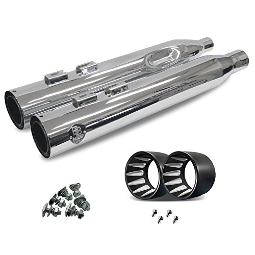 (Bagger Brothers BB-17-MFLR-CHR-Omicron Omega Series Chrome 2017 Newer Harley-Davidson Touring Slip-On Muffler with Omicron Tip)