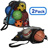 Cheap 2 Pack,SKOLOO Extra Thick & Large Drawstring Mesh Soccer Ball Bag With Adjustable Shoulder Strap, Multipurpose Bags for Basketball Volleyball Soccer Water Sport Beach Scuba Diving Swimming Gear, Black