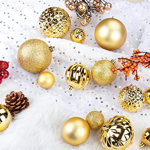 """KI Store 34ct Christmas Ball Ornaments 1.57"""" Small Shatterproof Christmas Decorations Tree Balls for Holiday Wedding Party Decoration, Tree Ornaments Hooks Included (40mm Gold)"""
