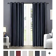 exclusive home curtains chatra faux silk grommet top window curtain panel pair indigo 54x108