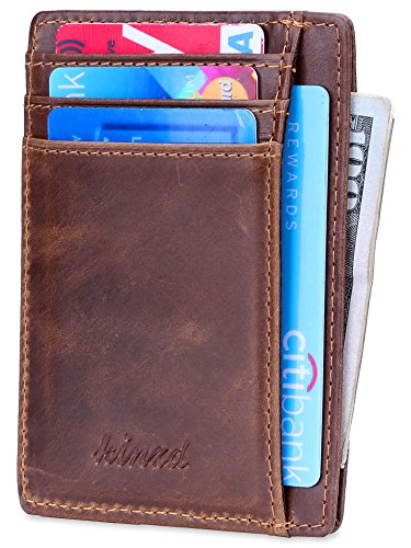 Slim Wallet RFID Front Pocket Wallet Minimalist Secure Thin Credit Card Holder (A Waxed Oil Leather Brown)