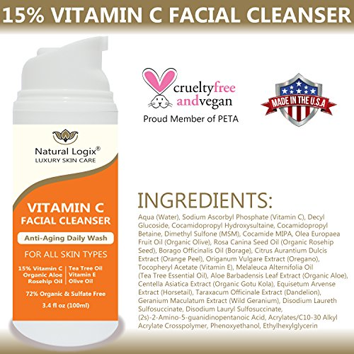 Natural-Logix-15-Vitamin-C-Natural-Facial-Cleanser-Gentle-For-All-Skin-Types-Non-Drying-Alcohol-Sulfate-Free-Contains-Vitamin-E-Rosehip-Tea-Tree-MSM-Aloe-VEGAN-For-Men-Women-34-OZ