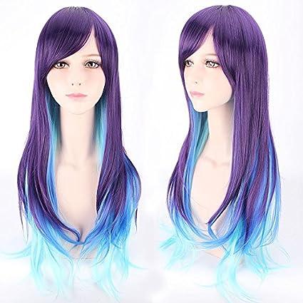 Urparcel 70 cm dos tonos morado y azul larga peluca de cabello rizado con los Flecos