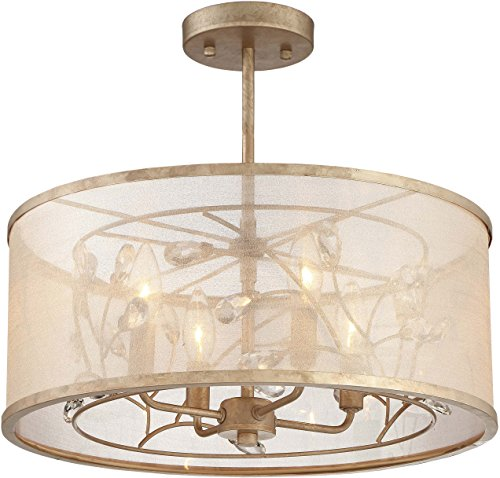 Jewel Four Light - Minka Lavery Semi Flush Mount Ceiling Light 4434-252 Sara's Jewel Lighting Fixture, 4-Light 240 Watts, Champaign Silver