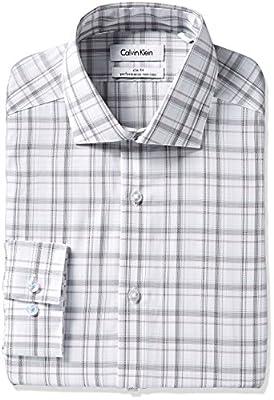 Calvin Klein Men's Slim Fit Non Iron Exploded Plaid Shirt