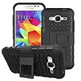 For Samsung Galaxy Core Prime SM-G360 / G360H : CASSIEY Hard Hybrid Armour Rubber Bumper Kick Stand Back Case Cover For Samsung Galaxy Core Prime SM-G360 / G360H - Black
