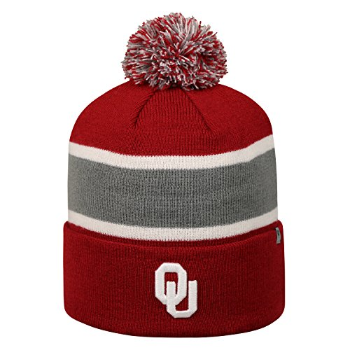 Top of the World Oklahoma Sooners Whirl Cuffed Pom Knit Beanie Hat/Cap