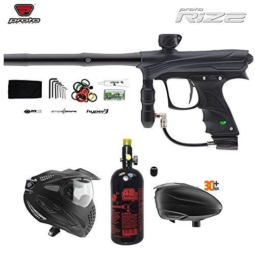 MAddog Proto Rize Paintball Gun + Dye SE Thermal Paintball Goggles Combo Package w Paintball Accessories - Grey/Black (Proto Rail Trigger)