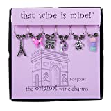 Wine Things ''Bonjour!'' Painted Wine Charms, Fits Neatly Around Stem, Multicolor
