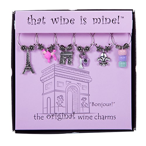 Wine Things ''Bonjour!'' Painted Wine Charms, Fits Neatly Around Stem, Multicolor by Wine Things