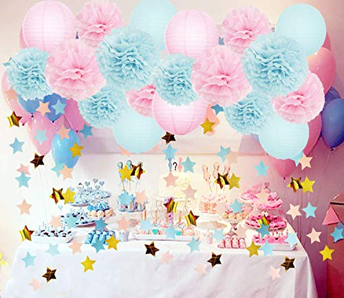Gender Reveal Party Supplies Baby Shower Decorations Baby Blue Pink Tissue Paper Pom Pom Flowers Paper Lanterns Pink Blue Gold Star Garland for Pink and Blue Decorations/Gender Reveal -