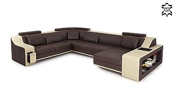 Ecksofa u form beige  Leder Couch Sofa braun / beige U-Form XXL Wohnlandschaft Ledersofa ...