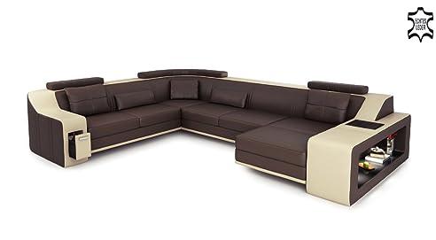 Ecksofa u form leder  Leder Couch Sofa braun / beige U-Form XXL Wohnlandschaft Ledersofa ...