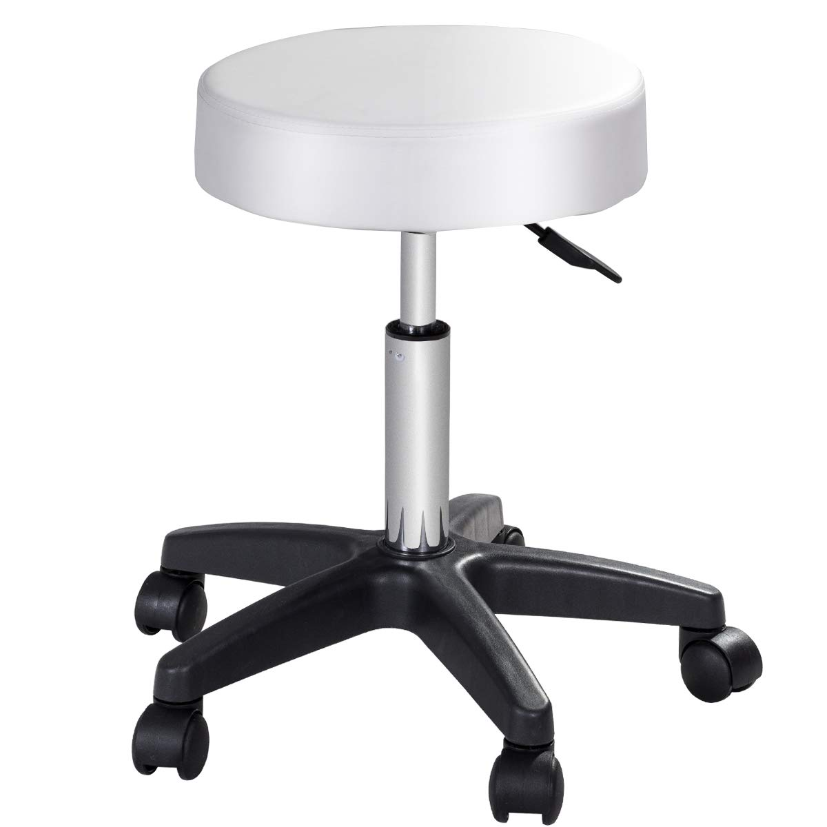 COSTWAY Adjustable Hydraulic Rolling Stool, Swivel Height Bar Stools, 360 Degree Rotation Stool Chair with Casters Wheels for Tattoo Facial Spa Massage White