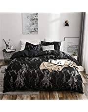 Lack Marble Duvet Cover Set with Zipper Closure-Printed Bedding Set
